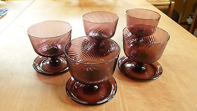 Vintage Amethyst Glass Dessert Dishes (5)