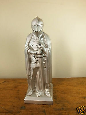 Vintage silver toned table lighter knight in armour medieval cigarette