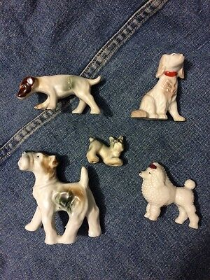 Lot of 5 Vintage Dog Figurines Inarco Japan~Excellent Condition Terrier Poodle