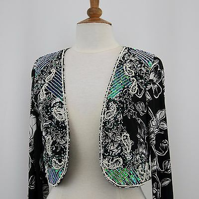 Jasdee Bolero Jacket Hand Work Beads Sequins & Pearl On Print Chiffon Style 790