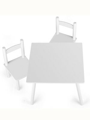 LETTINO Wooden Table and Chairs - White