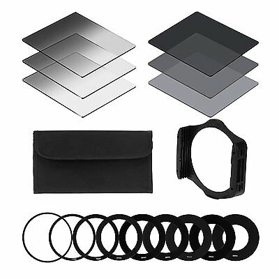 Neutrale Dichte ND Filter+ 9pcs Ring-Adapter 49/52/55/58/62/67/72/77/82mm+Filter