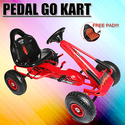 Pedal Powered Kids Go Kart Children Outdoor Sturdy Bike Ride On Racing Toy Red