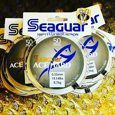 30 & 50 Meter Spools Seaguar ACE Hard Fluorocarbon Tippet Material 13 Options