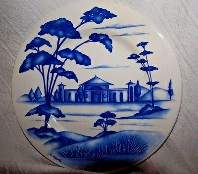 "L. Mauri Italy  Blue And White Ceramic 8"" Plate"