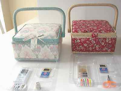 Set of 2 Vintage Wicker & Cloth Sewing Baskets / Boxes w/ notions & plastic tray