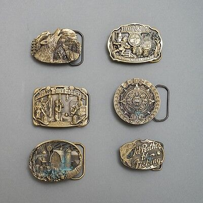 Lot of 6 Vtg Great American Buckle Co Solid Brass Belt Buckles Americana Themes