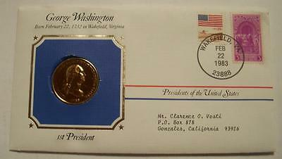 Bronze G Washington Presidential Medal  Gold Plated in Stamped Cover 1983