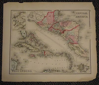 "1873 Gray's Atlas Map of West Indies and Central America - 17"" x 14"" Canada US"