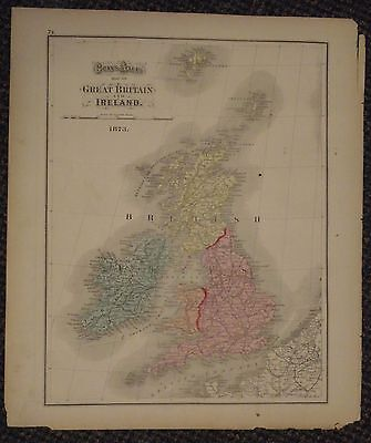 """1873 Gray's Atlas Map of Great Britain And Ireland - 14"""" x 17"""""""