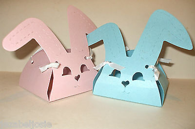 Bunny Rabbit Favour Gift Box x 10 Shimmer Card.Easter Eggs, Baby Shower