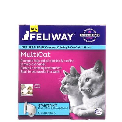Feliway Multi Cat Starter Kit Diffuser Plug-In W/30 Day Refill 48ml Calm Kitty