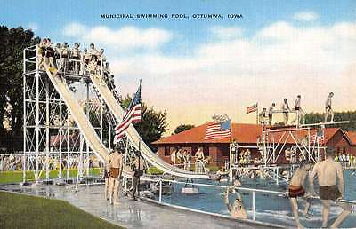 Ottumwa Iowa Municipal Swimming Pool Slide Linen Antique Postcard K23334