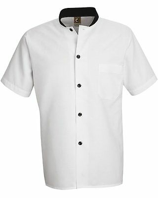 Chef Designs White with Black Trim Cook Shirt S, M, L