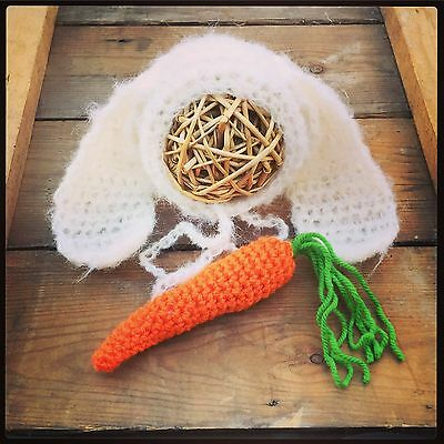 Mohair Lop Eared bunny Bonnet With Cute Carrot. Easter. Photography prop Newborn