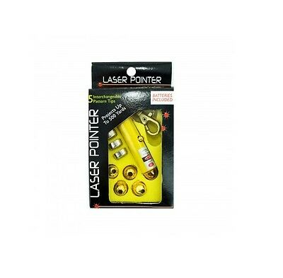Laser Pointer with 5 Interchangeable Heads with Pattern Tips - 3 lr44 Batteries