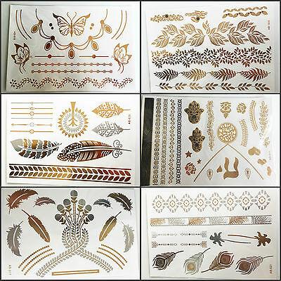 Waterproof Colorful Feather Temporary Metallic Tattoo Gold Silver