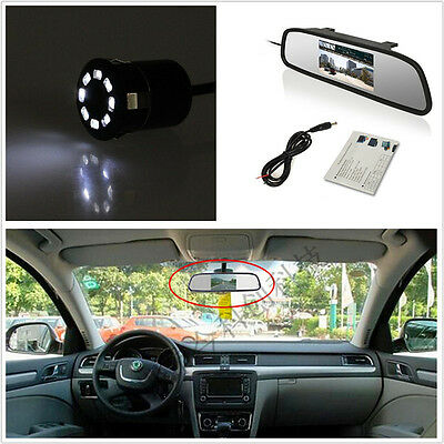 "18.5mm 170°CCD Reverse Backup Parking Camera + 4.3"" TFT Rearview Mirror Screen"