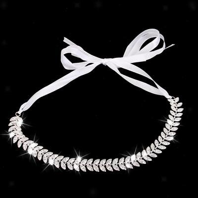 Wedding Bridal Crystal Leave Headband Headpiece Ribbon Tie Hair Jewelry