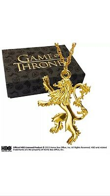 Game Of Thrones Lannister Gold Plated Pendant Noble Collection Gift New
