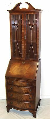 REPRODUX Bevan Funnell Mahogany Astragal Glazed Bureau Bookcase : Under 2ft Wide