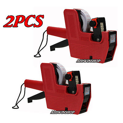 2 Pack MX-5500 8 Digits Price Tag Gun + 5000 White with Red lines labels + Ink