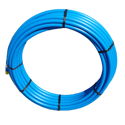 Blue MDPE Plastic Mains Water Pipe in 20mm or 25mm in 25mt or 50mt roll WRAS APR