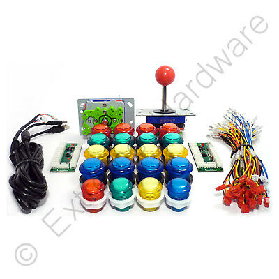 2 Player Arcade Control Kit - 2 Ball Top Joysticks, 20 LED Illuminated Buttons
