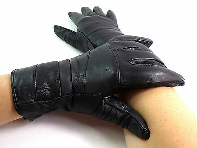 Ladies Womens High Quality Genuine Black Leather Gloves Fleece Lined Everyday