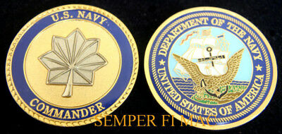 Authentic Us Navy Commander 0-5 Cmdr Challenge Coin Uss Officer Promotion Gift