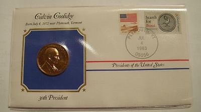Bronze C Coolidge Presidential Medal  Gold Plated in Stamped Cover 1983