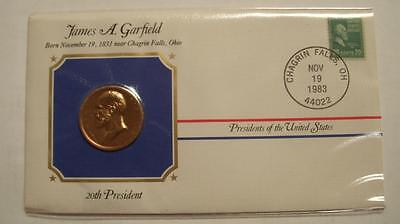 Bronze J Garfield Presidential Medal  Gold Plated in Stamped Cover 1983