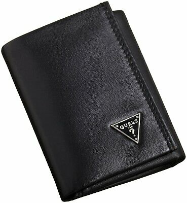 New Men's Guess Cruz Leather Credit Card Wallet Trifold 0965-01 Black