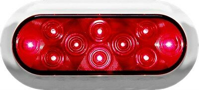 Piranha LED Surface Mount Oval Stop, Turn and Tail Light with Chrome Bezel