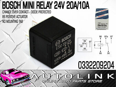 Bosch Mini Relay 24V 5Pin Change Over 20/10A - Diode Protected ( 0332209204 )