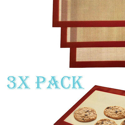 3 Pack LARGE Silicone Baking Mat Non Stick Heat Resistant Liner Oven Sheet Mats