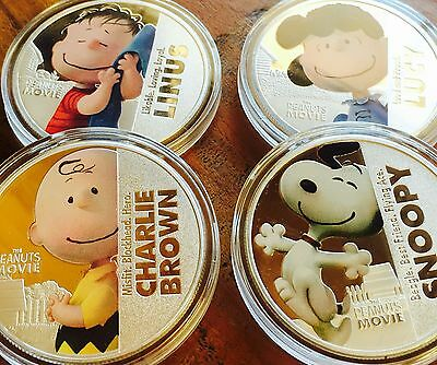 Peanuts Movie collectables coins set of 4 Finished In Silver .999 1oz Snoopy Set