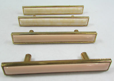 "Set of 4 Vintage Pink White Porcelain 5"" Handle Cabinet Drawer Dresser Pulls"