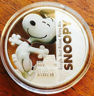 New Peanuts Snoopy Collectable Coin Medallion Finished In Silver 1oz Movie .999