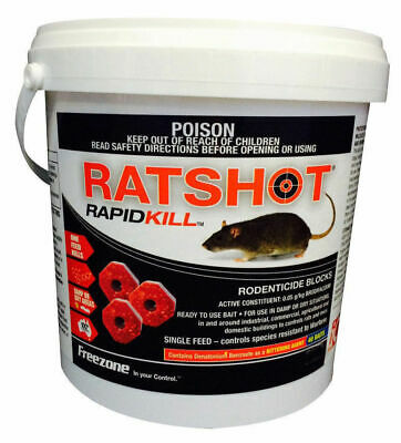 Ratshot RapidKill Rat Mouse Rodent Poison Bait Blocks Brodifacoum ONE Feed 800gm