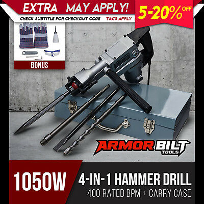 1050W ArmorBilt Demolition Jack Hammer Electric Concrete Drill Chisel Kit 4in1