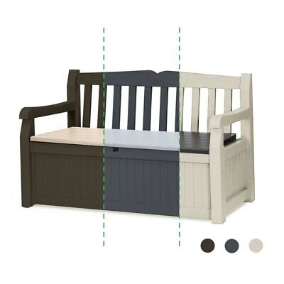 original gartenbank von keter sitzbank auflagenbox gartentruhe truhenbank garten eur 109 00. Black Bedroom Furniture Sets. Home Design Ideas