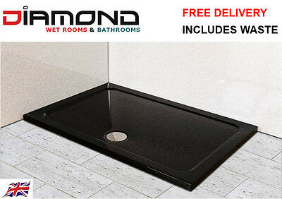 1200x900 BLACK ULTRA GLOSS Rectangle Stone Slimline Shower Tray 40mm inc Waste