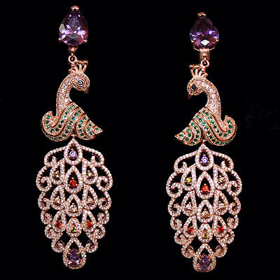 Fantastic Chandeliers with Peacock, Rose Gold from 925 Sterling Silver