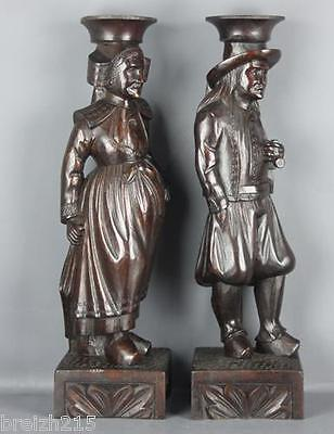 French Antique Pair  Brittany Breton  wood carved Statues