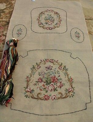 """63"""" HUGE Full SET Tramme Preworked Needlepoint Chair Canvas With Wool Pack"""