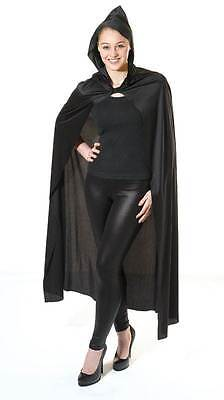 Long Black Hooded Cape, Fancy Dress Costume
