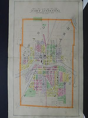 WISCONSIN JEFFERSON COUNTY MAP 1899 City of Fort Atkinson Dbl Pg/Side K19#12