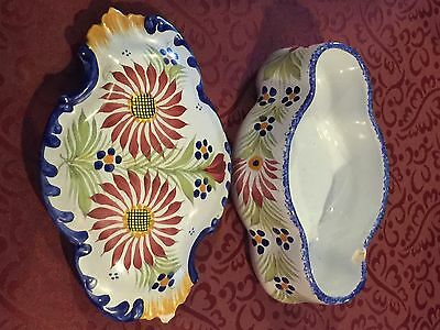 Beautiful Hand Painted Quimper Covered Dish From France
