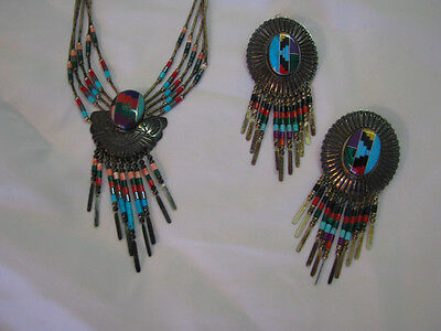 STERLING SILVER Mosaic Concho NAVAJO/INDIAN NECKLACE/EARRINGS SET Liquid/Fringe